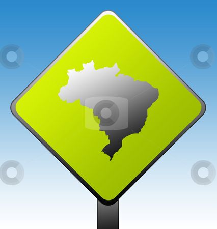 Brazil road sign stock photo, Brazil map on green diamond shaped road sign with gradient blue sky background. by Martin Crowdy