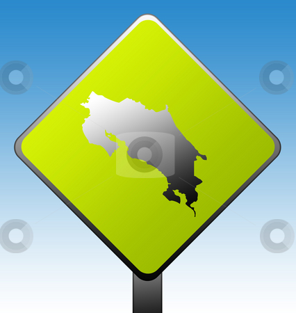 Costa Rica road sign stock photo, Costa Rica map on green diamond shaped road sign with gradient blue sky background. by Martin Crowdy