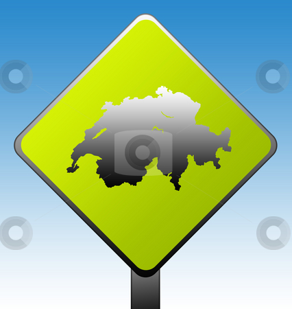 Switzerland road sign stock photo, Switzerland green diamond shaped road sign with gradient blue sky background. by Martin Crowdy