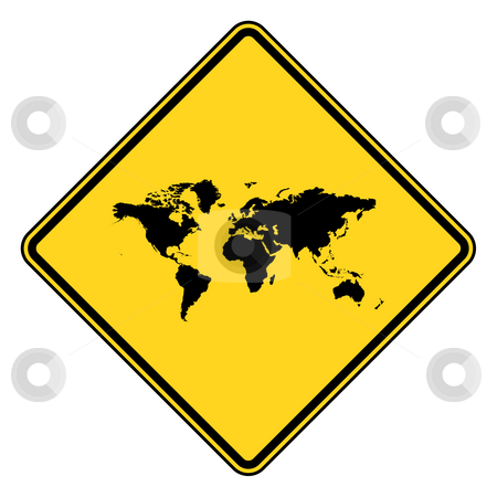 Planet Earth road sign stock photo, Planet Earth yellow diamond shaped road sign isolated on white background. by Martin Crowdy