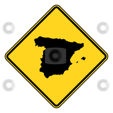 Spain road sign stock photo, Spain yellow diamond shaped road sign isolated on white background. by Martin Crowdy