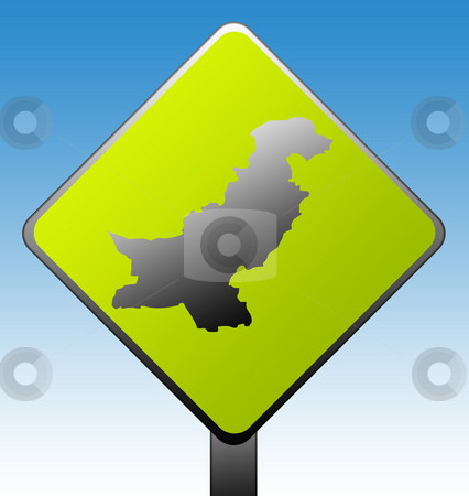 Pakistan road sign stock photo, Pakistan green diamond shaped road sign with gradient blue sky background. by Martin Crowdy