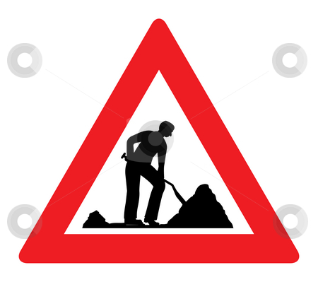 Man at work road sign stock photo, Man at work road sign isolated on white background. by Martin Crowdy