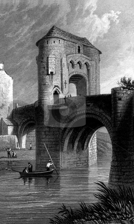 Raglan Castle stock photo, Engraving of Raglan Castle with gatehouse and bridge over moat, Monmouthshire, Wales. People punting in foreground. Souced from book by B.B. Woodward,  by Martin Crowdy