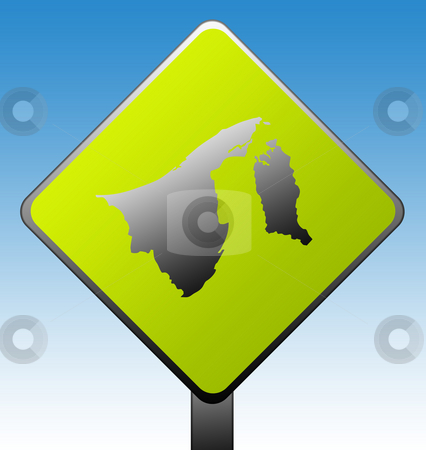 Brunei road sign stock photo, Brunei green diamond shaped road sign with gradient blue sky background. by Martin Crowdy