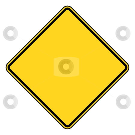 Blank road sign stock photo, Blank diamond shaped road sign with copy space, isolated on white background. by Martin Crowdy