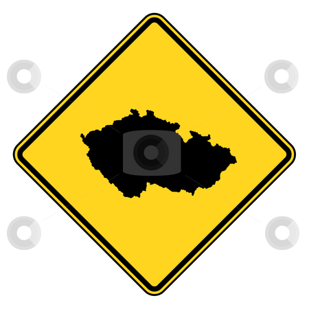 Czech Republic road sign stock photo, Czech Republic yellow diamond shaped road sign isolated on white background. by Martin Crowdy