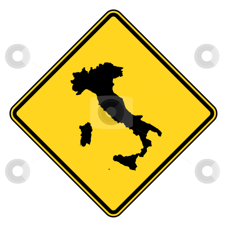 Italy road sign stock photo, Italy map road sign in yellow, isolated on white background. by Martin Crowdy
