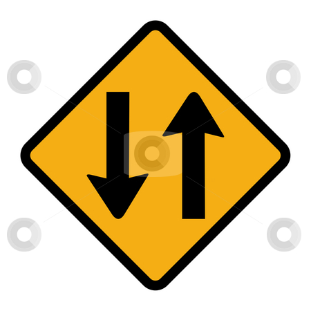 Two way traffic sign stock photo, Orange diamond shaped two way traffic sign, isolated on white background. by Martin Crowdy