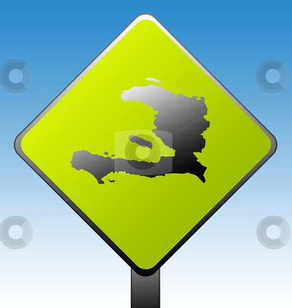 Haiti Road Sign stock photo, Haiti map on green diamond shaped road sign with gradient blue sky background. by Martin Crowdy