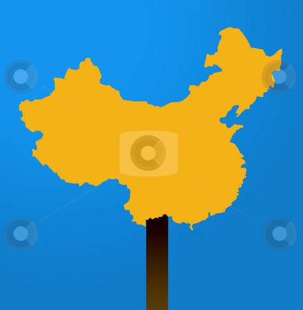 China map sign stock photo, China map sign isolated on white background with blue sky background. by Martin Crowdy