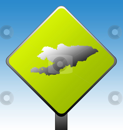 Kyrgyzstan road sign stock photo, Kyrgyzstan green diamond shaped road sign with gradient blue sky background. by Martin Crowdy