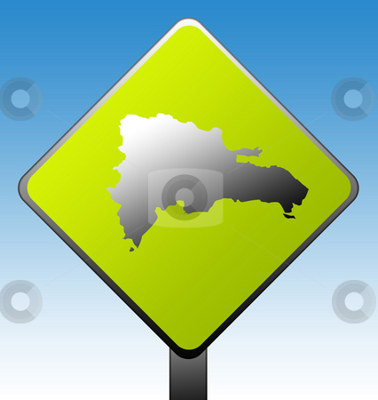 Dominican Republic sign stock photo, Dominican Republic map on green diamond shaped road sign with gradient blue sky background. by Martin Crowdy