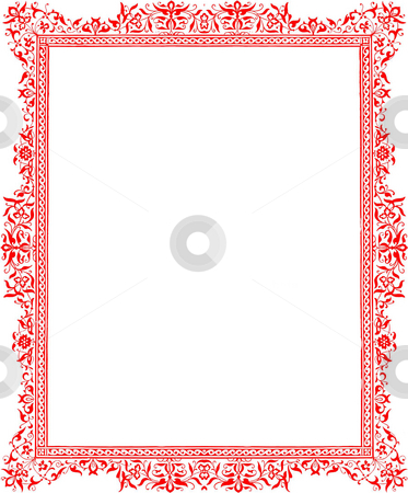 Antique red floral border stock photo, Antique red floral border pattern isolated on white background with copy space. Sourced from book by W R. Tymms,  by Martin Crowdy