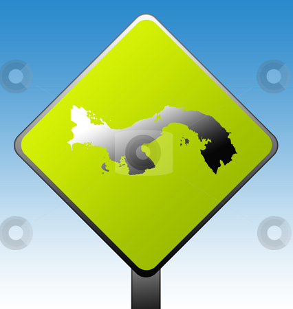 Panama road sign stock photo, Panama map on green diamond shaped road sign with gradient blue sky background. by Martin Crowdy