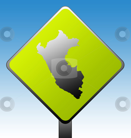 Peru road sign stock photo, Peru map on green diamond shaped road sign with gradient blue sky background. by Martin Crowdy