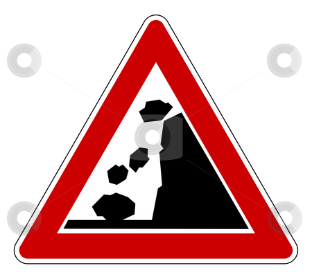 Falling rocks road sign stock photo, Falling rocks of landslide road sign, isolated on white background. by Martin Crowdy