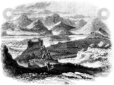 Harlech Castle stock photo, Engraving of Harlech Castle, Gwynedd, Wales. Elevated view with Irish sea and mountains in background. Sourced from 1845 book by Charles Knight,