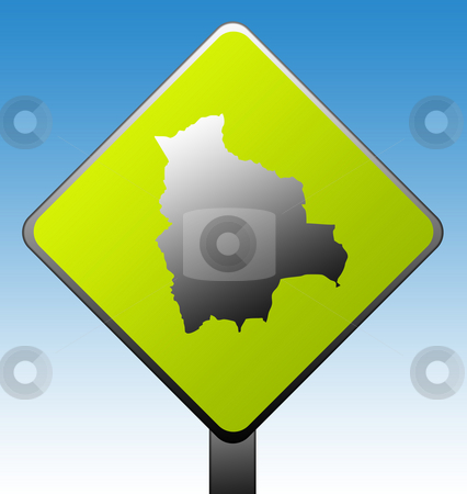 Bolivia road sign stock photo, Bolivia map on green diamond shaped road sign with gradient blue sky background. by Martin Crowdy