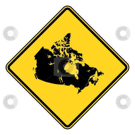 Canada road sign stock photo, Canada map road sign in yellow, isolated on white background. by Martin Crowdy