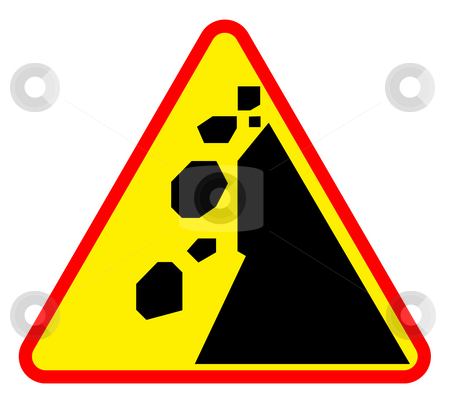 Landslide road warning sign stock photo, Falling rocks or landslide road sign, isolated on white background. by Martin Crowdy