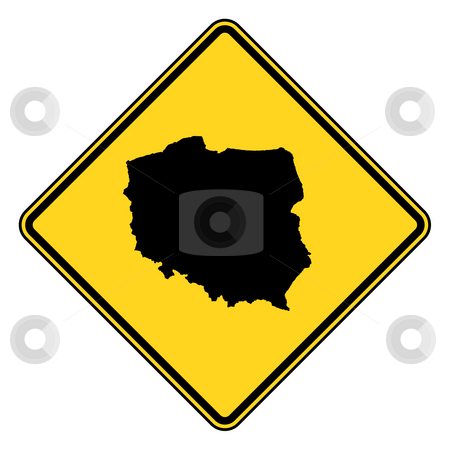Poland road sign stock photo, Poland map road sign in yellow, isolated on white background. by Martin Crowdy