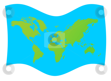 World map flag stock photo, World map flag in green, isolated on blue background. by Martin Crowdy