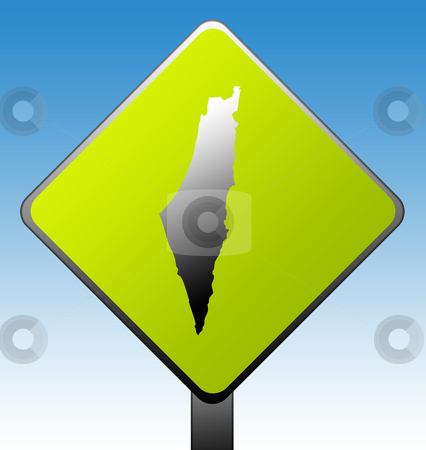 Israel road sign stock photo, Israel green diamond shaped road sign with gradient blue sky background. by Martin Crowdy