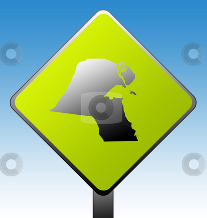 Kuwait road sign stock photo, Kuwait green diamond shaped road sign with gradient blue sky background. by Martin Crowdy