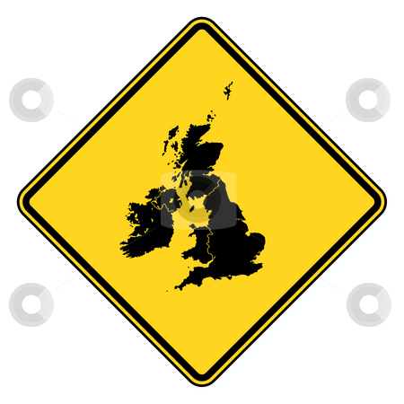 United Kingdom road sign stock photo, United Kingdom map road sign in yellow, isolated on white background. by Martin Crowdy