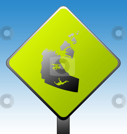 Northwest Territories province road sign stock photo, Northwest Territories, province of Canada map green diamond shaped road sign with gradient blue sky background. by Martin Crowdy