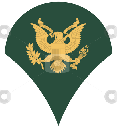 US army specialist insignia stock photo, United States of America military rank of specialist insignia, isolated on white background. by Martin Crowdy