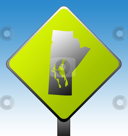 Manitoba province road sign stock photo, Manitoba province of Canada map green diamond shaped road sign with gradient blue sky background. by Martin Crowdy