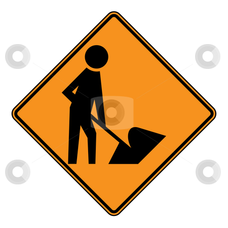 Roadworks sign stock photo, Diamond shaped roadworks sign, isolated on white background. by Martin Crowdy