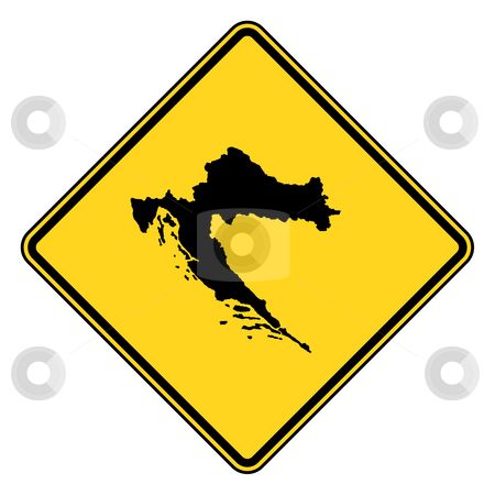 Croatia road sign stock photo, Croatia map road sign in yellow, isolated on white background. by Martin Crowdy