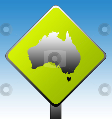 Australia road sign stock photo, Australia green diamond shaped road sign with gradient blue sky background. by Martin Crowdy