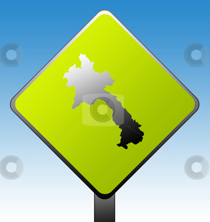 Laos road sign stock photo, Laos green diamond shaped road sign with gradient blue sky background. by Martin Crowdy