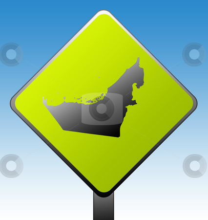 United Arab Emirates stock photo, United Arab Emirates map green diamond shaped road sign with gradient blue sky background. by Martin Crowdy