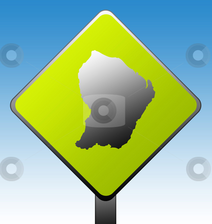 French Guina sign stock photo, French Guina map on green diamond shaped road sign with gradient blue sky background. by Martin Crowdy