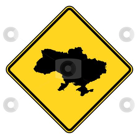 Ukraine road sign stock photo, Ukraine yellow diamond shaped road sign isolated on white background. by Martin Crowdy