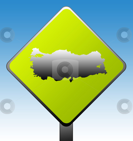 Turkey map road sign stock photo, Turkey map green diamond shaped road sign with gradient blue sky background. by Martin Crowdy