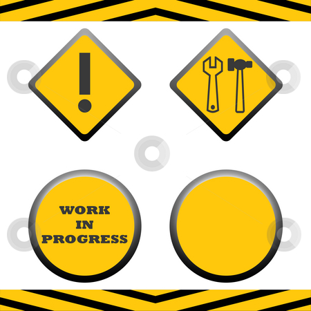 Under construction signs stock photo, Set of blank under construction signs with copy space, isolated on white background. by Martin Crowdy