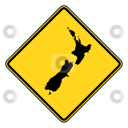 New Zealand road sign stock photo, New Zealand map road sign in yellow, isolated on white background. by Martin Crowdy