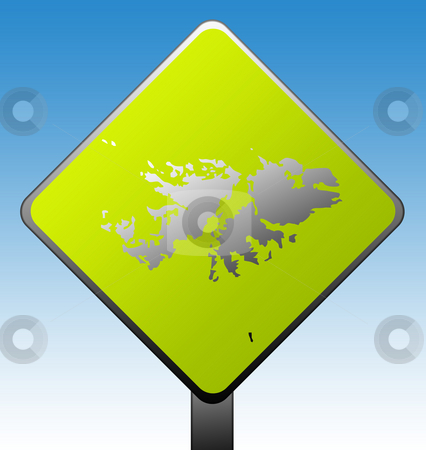 Falkland Islands road sign stock photo, Falkland Islands map on green diamond shaped road sign with gradient blue sky background. by Martin Crowdy