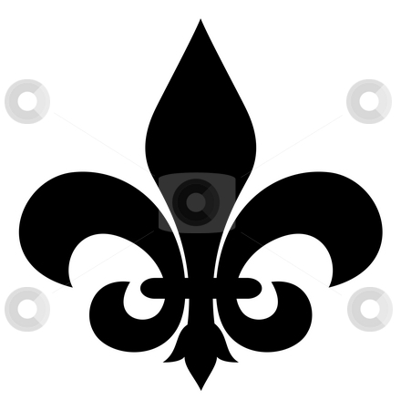 Fleur-de-lis stock photo, Black silhouetted of Fleur-de-lis symbol, isolated on white background. by Martin Crowdy