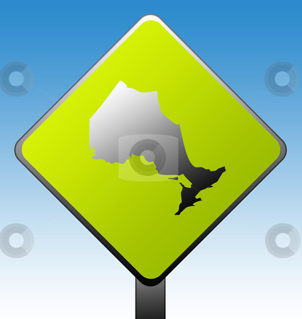 Ontario province road sign stock photo, Ontario province of Canada map green diamond shaped road sign with gradient blue sky background. by Martin Crowdy