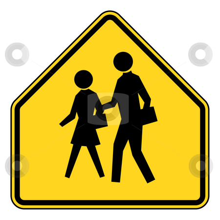 School zone sign stock photo, School zone or children crossing sign isolated on white background. by Martin Crowdy