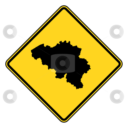 Belgium road sign stock photo, Belgium map road in yellow, isolated on white background. by Martin Crowdy