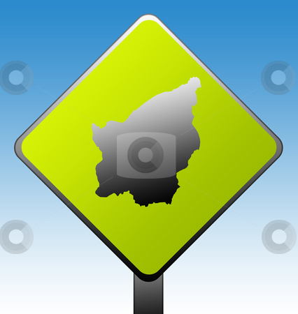 San Marino road sign stock photo, San Marino green diamond shaped road sign with gradient blue sky background. by Martin Crowdy