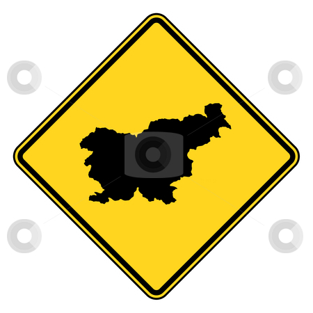 Slovenia road sign stock photo, Slovenia yellow diamond shaped road sign isolated on white background. by Martin Crowdy